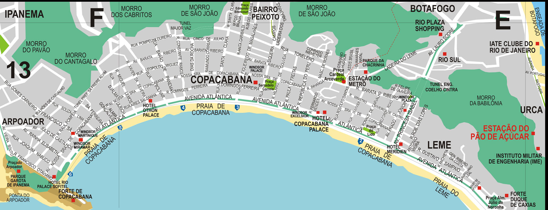 Map of Leme and Copacabana