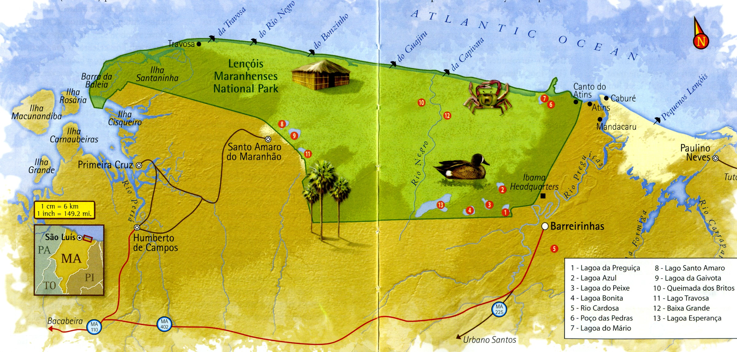 Map of Lencois Maranhenses Maranhao