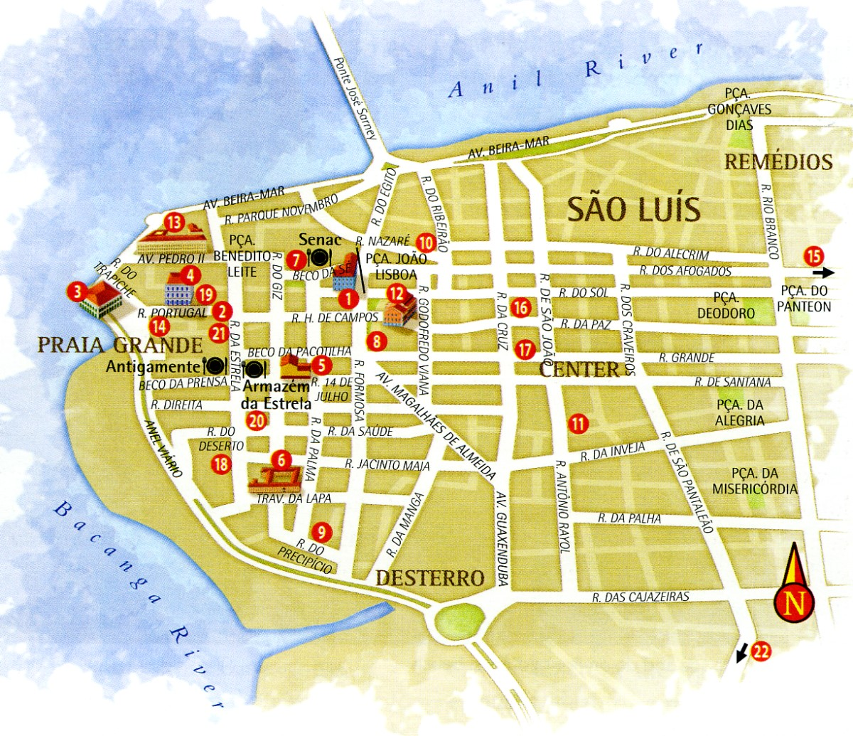 Map of historic center Sao Luis City Maranhao