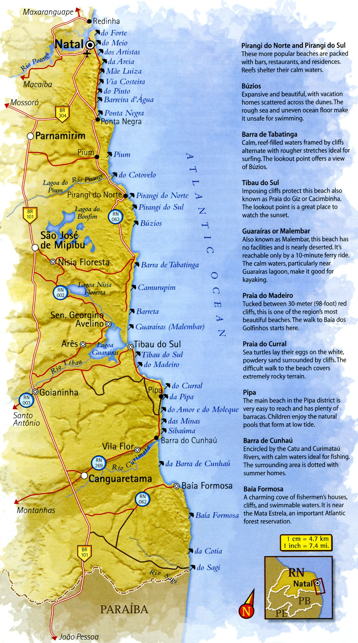 Map of South Coast of Rio Grande do Norte