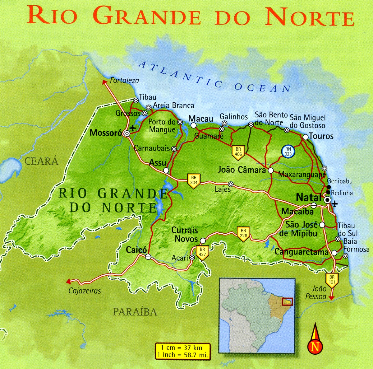 Map of Rio Grande do Norte Brazil
