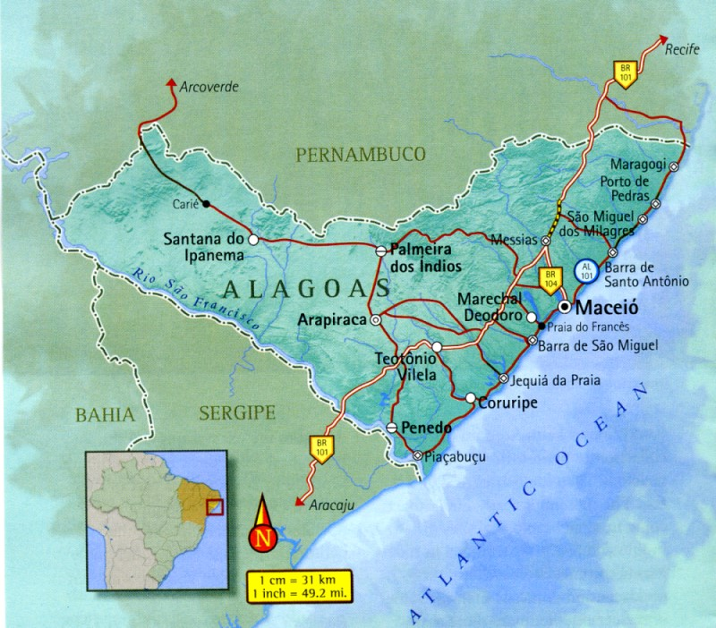 Map of Alagoas Brazil