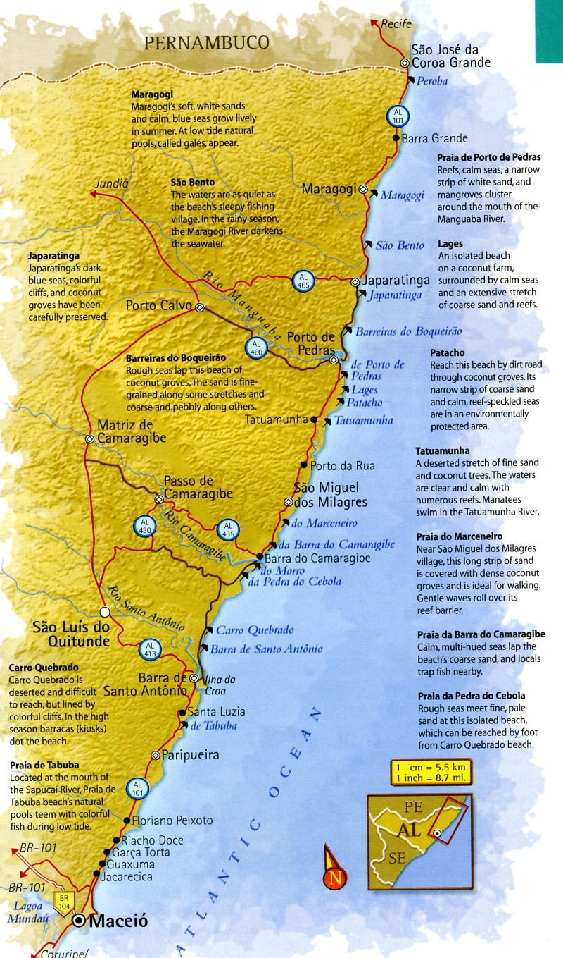 Map of Alagoas North Coast Brazil