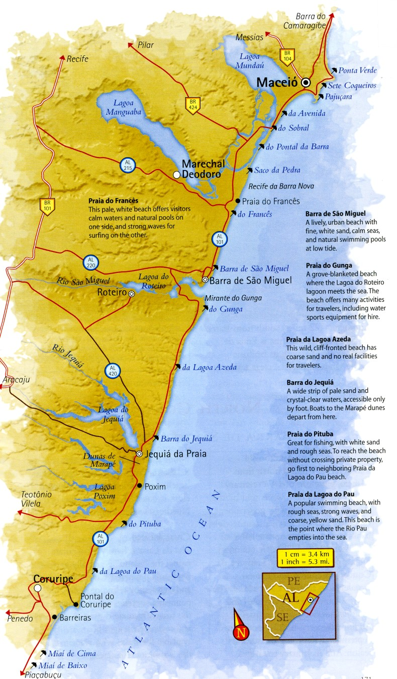 Map of South Coast of Alagoas Brazil
