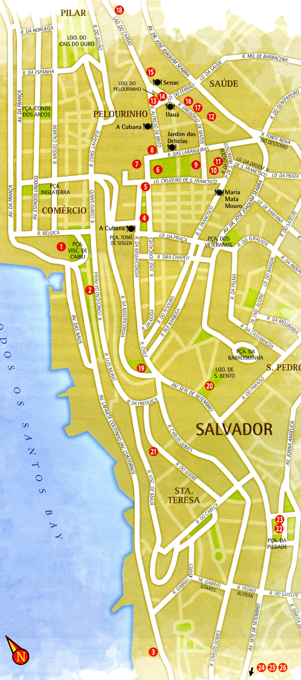 Map of Lower and Upper City Salvador Bahia