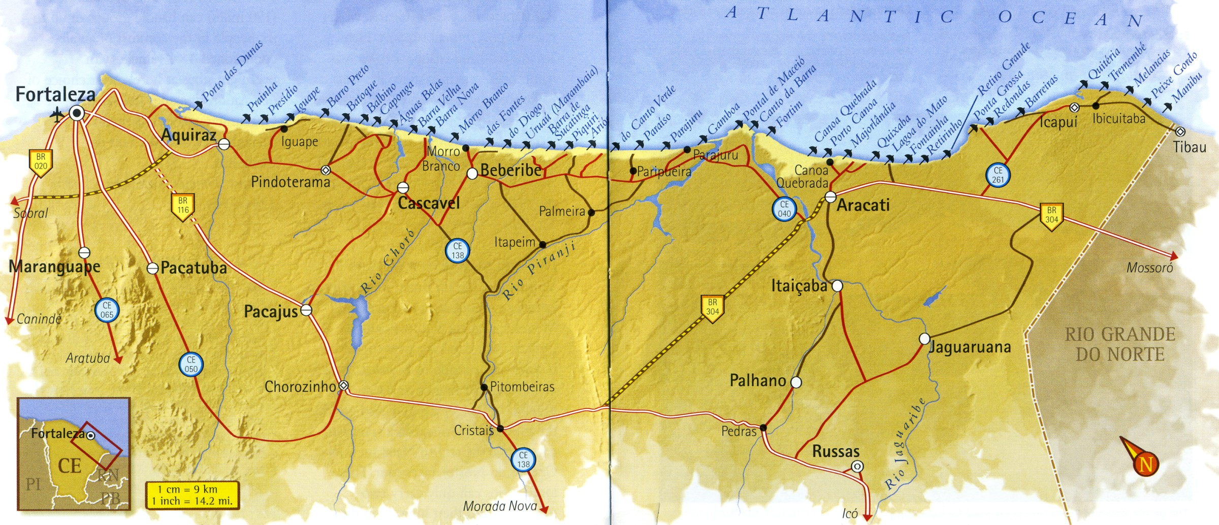 Map of Ceará East Coast Brazil