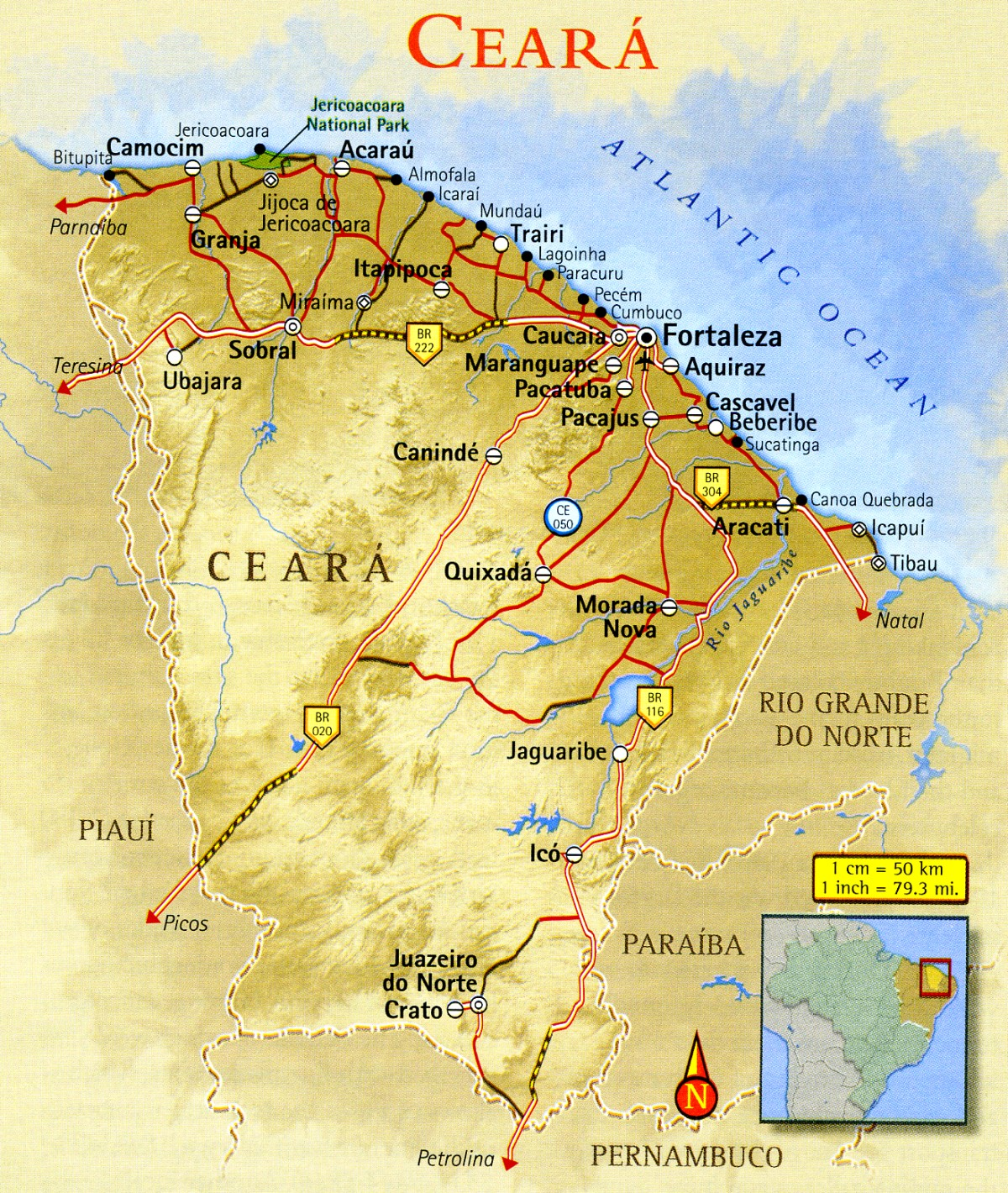 Map of Ceará Brazil
