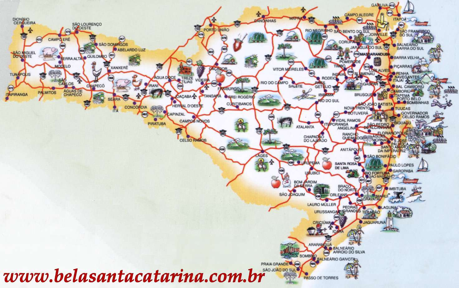 Map of Santa Catarina Brazil