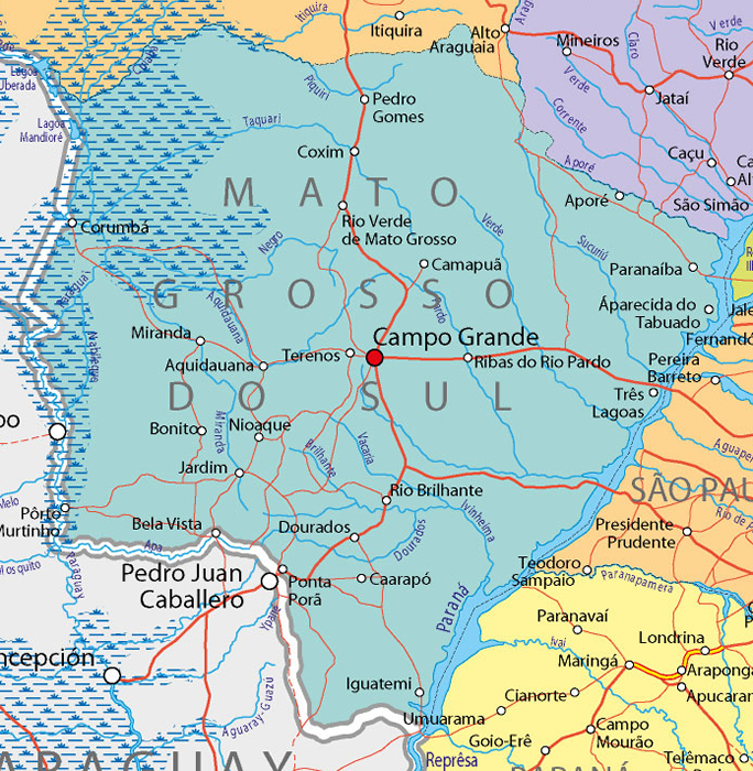Map of Mato Grosso do Sul Brazil