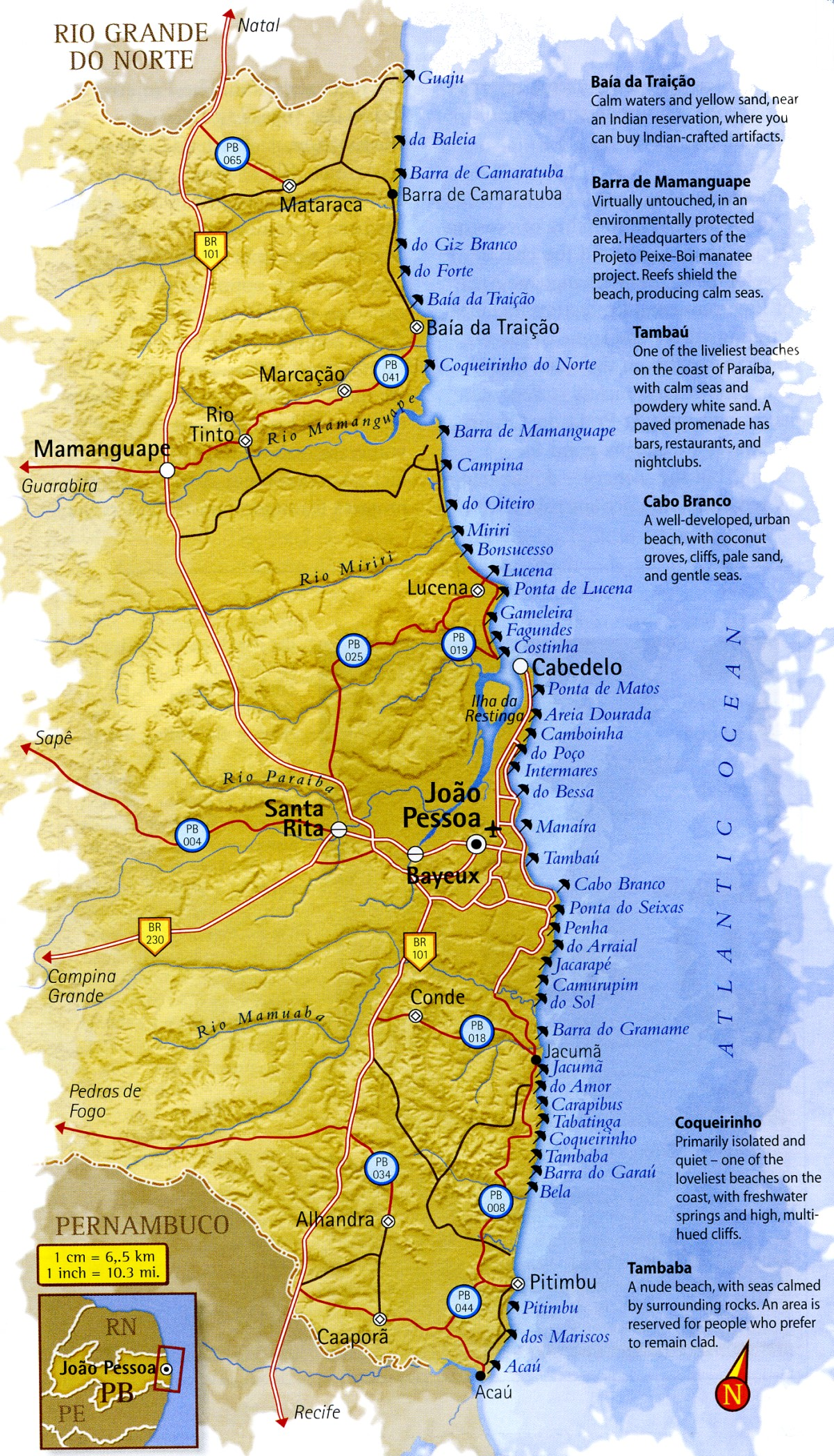 Map Coast of Paraíba Brazil