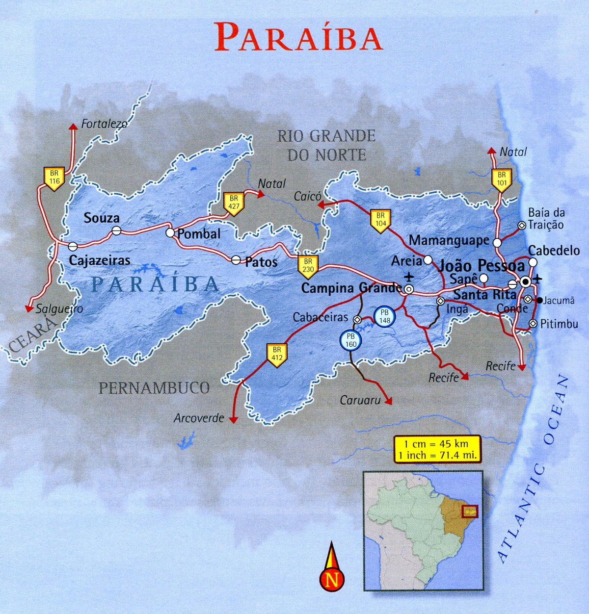 Map of Paraíba Brazil