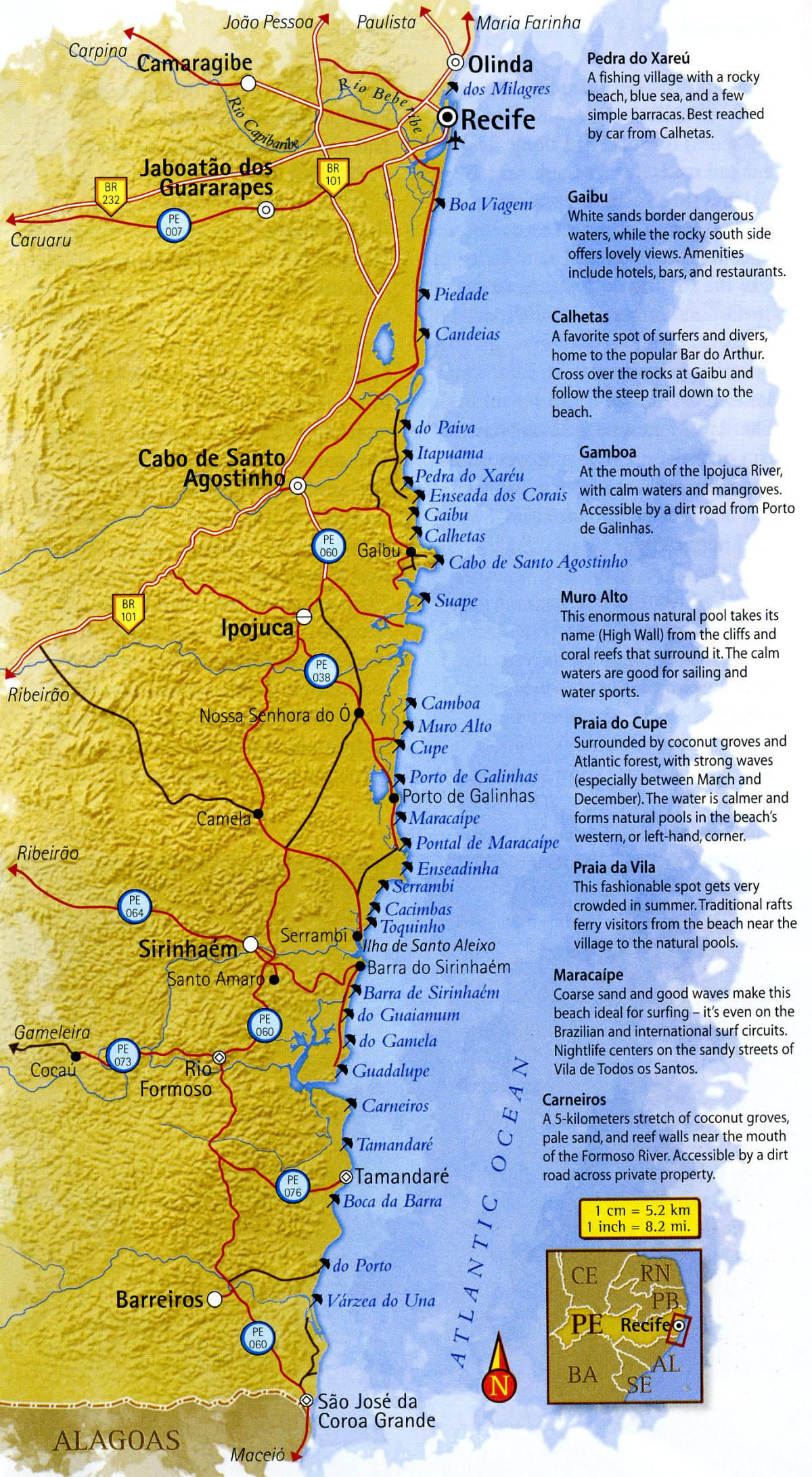Map of South Coast of Pernambuco