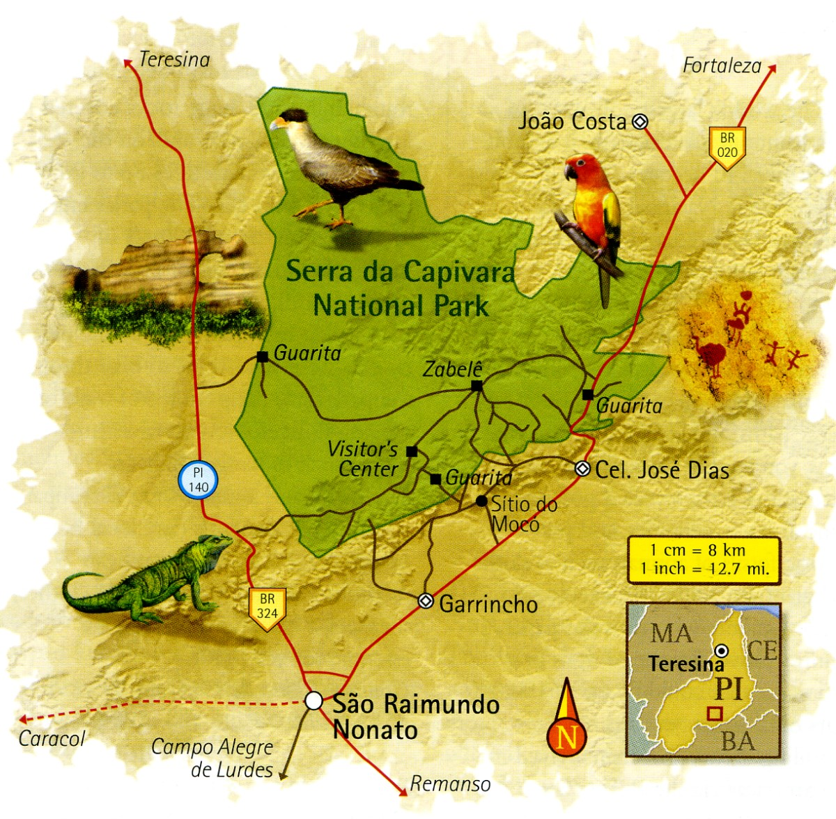 Map of Serra da Capivara National Park Piauí Brazil