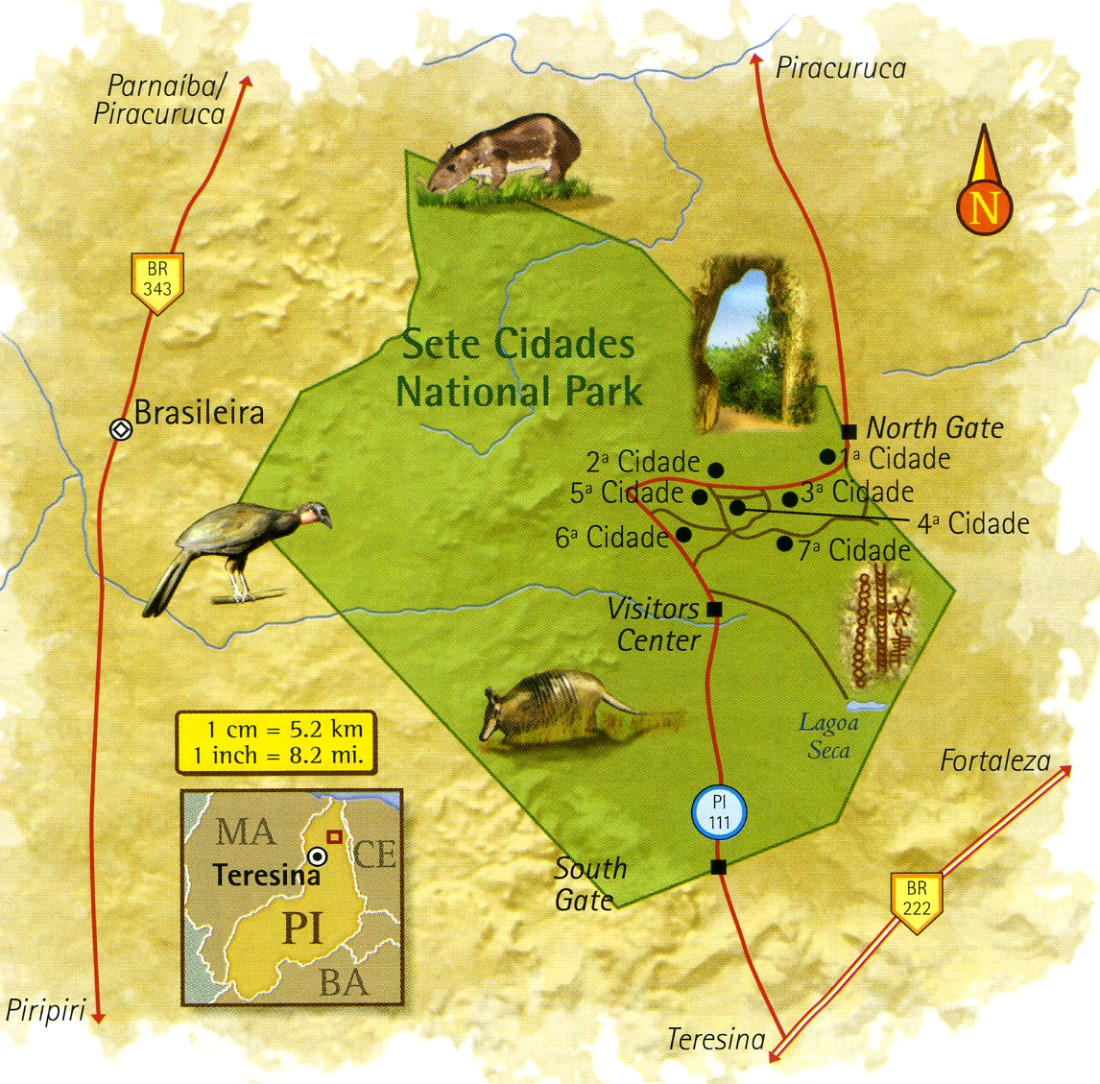 Map of Sete Cidades National Park Piauí Brazil